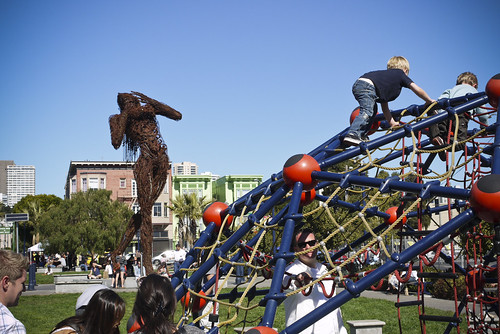 playgrounds and art share the space at Patricia's Green, Hayes Valley, SF