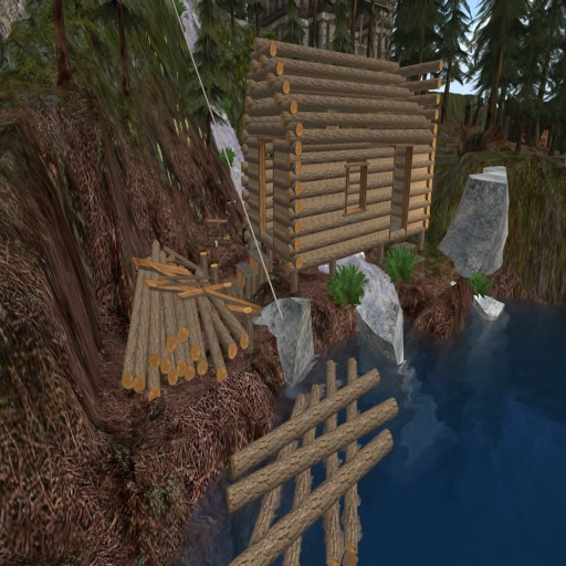 Log cabin with some roof and mud 001