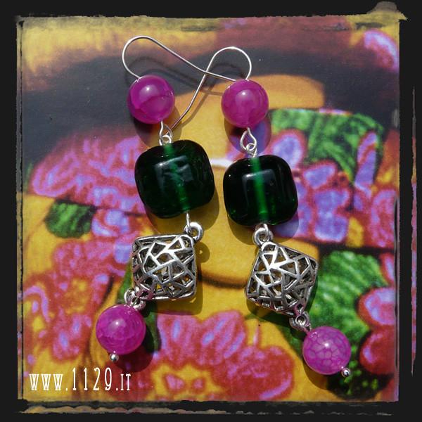 LFVEFU orecchini fucsia verdone - pink green earrings 1129