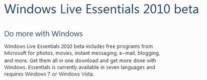 Windows Live Essentials 2010 beta - Download page
