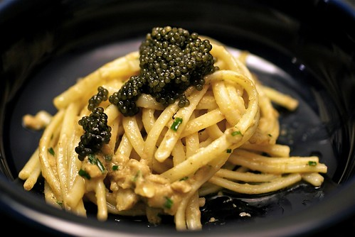 Linguini with sea urchin and caviar