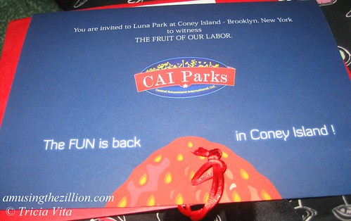 Invitation to May 28th Ribbon Cutting Ceremony for the New Luna Park. Photo © Tricia Vita/me-myself-i