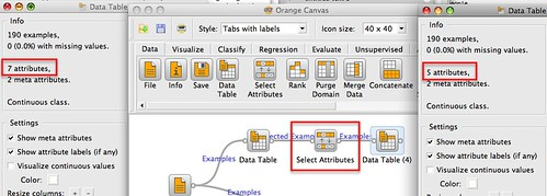 selecting columns in Orange