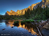 Cathedral Rocks reflected in Merced River by Ellen Yeates