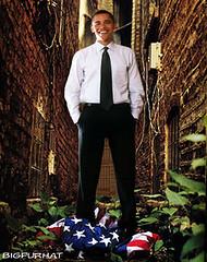 Obama Standing On Flag