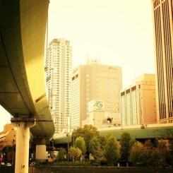 夕日に映える阪神高速