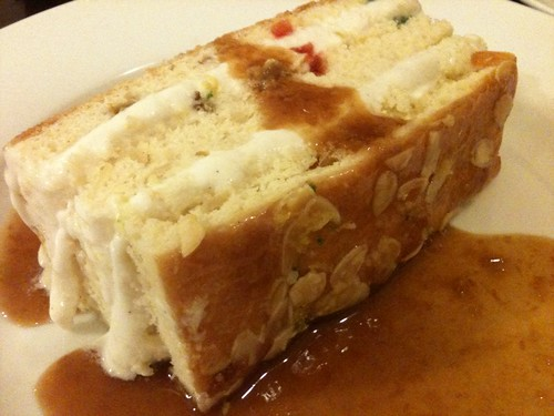 slice cake loaf into manageable chunks to serve