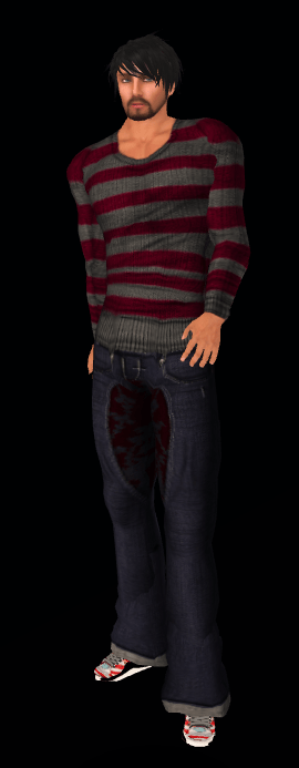 DeeTailz #6 red striped sweater and loose jeans