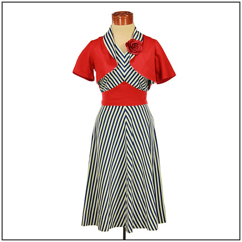 Vintage 1930s Dress and Bolero in Chevron Nautical Theme