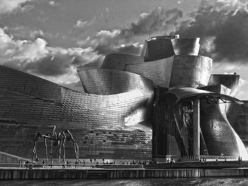 Guggenheim Bilbao sunset b&w