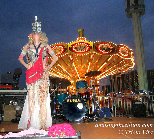 Queen of Swords Natasha Versuchka on stage at new Luna Park, Coney Island. Photo © Tricia Vita/me-myself-i
