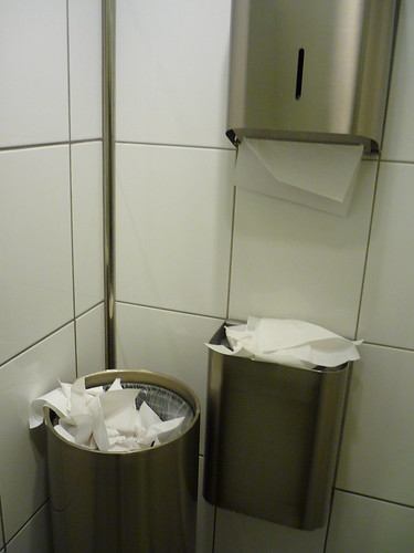 Copenhagen airport toilet - TWO bins