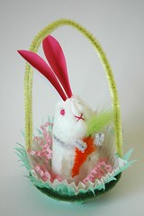 Vintage-style Cotton Batting Bunny in Basket