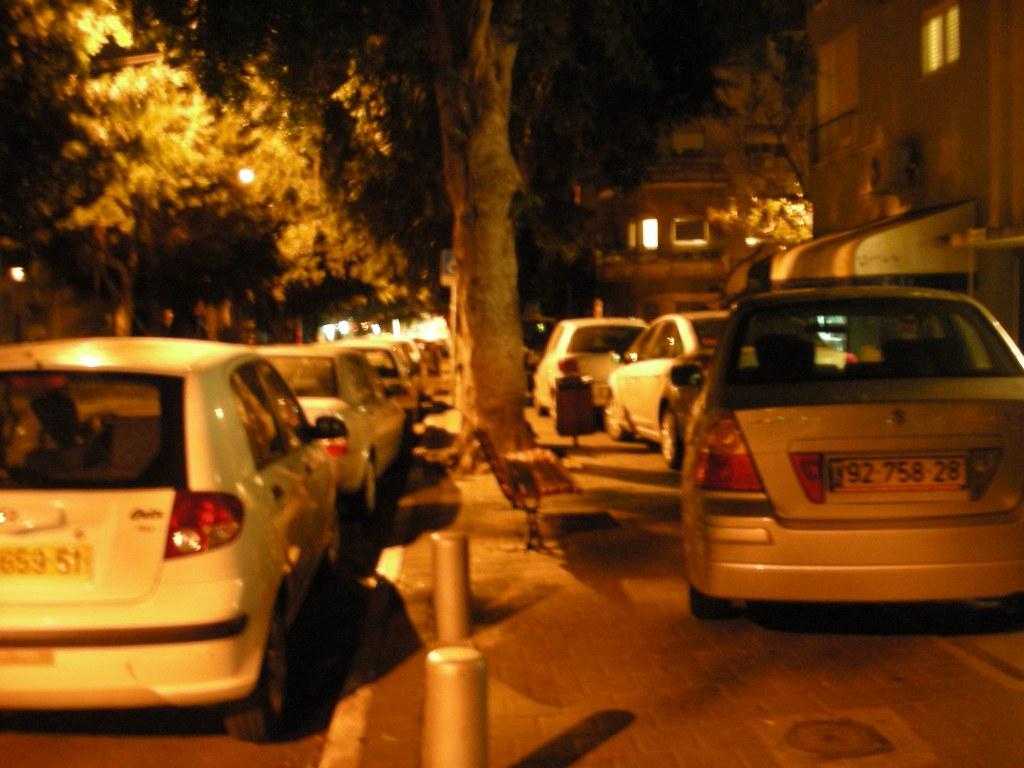 Sidewalk Parking at Night in Tel-Aviv