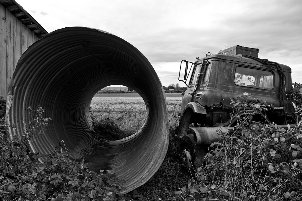 Abandoned truck and pipe