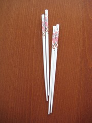 White sakura chopsticks