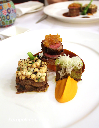 Roast Lamb Saddle with Tamarind-Kumquat Marmalade, Braised Lamb Neck Gateau topped with Puffed Barley, Manchego Polenta and Thyme Sauce