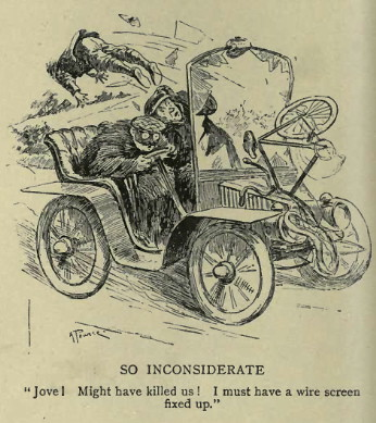 Caricature of car hitting cyclist from Punch