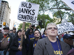 Thousands protest banks on Wall Street
