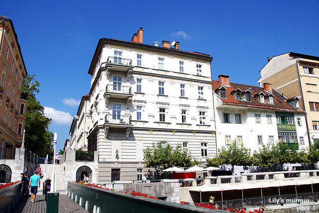 Ljubljana市區某處,建築已經新舊混合的樣貌。