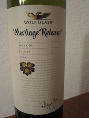Wolf Blass Heritage Release. Adelaide Shiraz 2006.