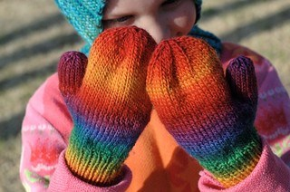 Rainbow toddler mittens