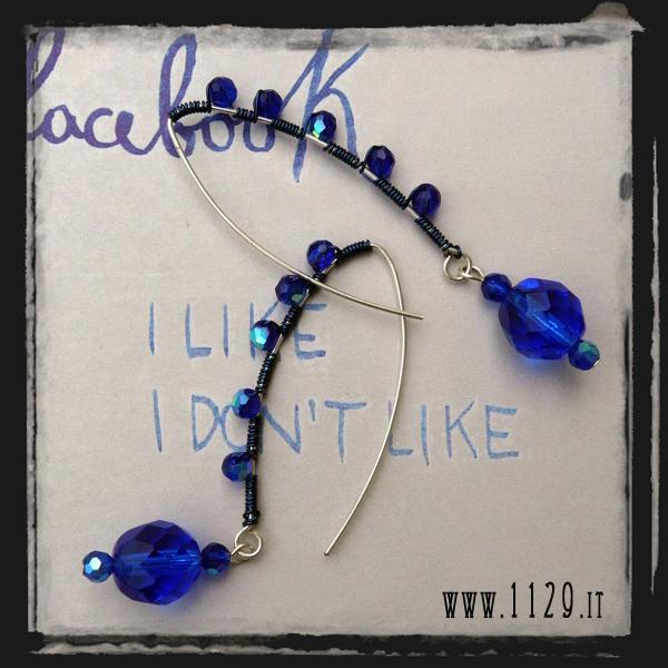 LEBLUW orecchini blu wired blue earrings 1129