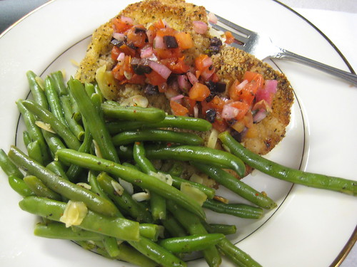 breaded chicken and green beans