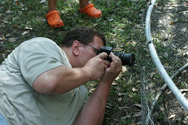 Here is Doug photographing Geese at Funky Chicken Farm