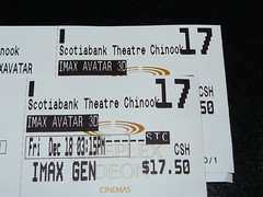 Our tickets to Avatar IMAX 3D