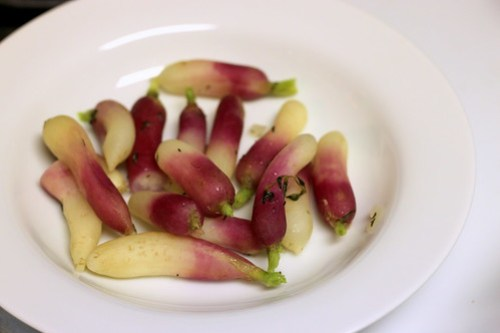 braised radishes, no sauce
