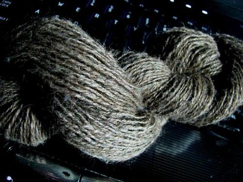 Handspun 3-Ply Lace Jacob & Silk Thread in Hank
