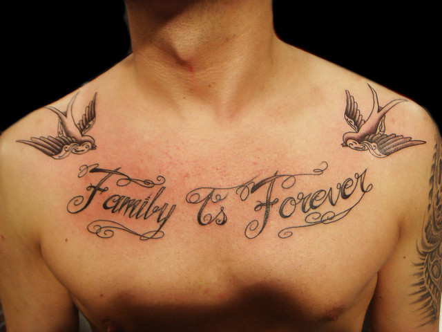 Family is forever lettering tattoo. Miguel Angel Custom Tattoo Artist
