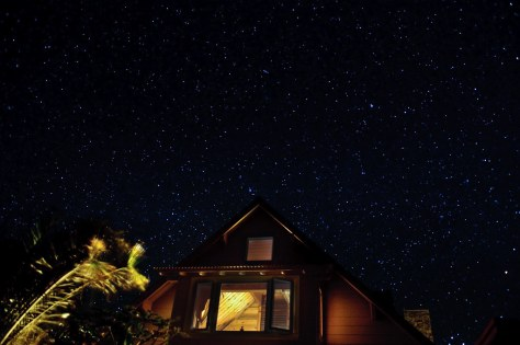 A starry night sky over a retreat center on Molokai, Hawaii
