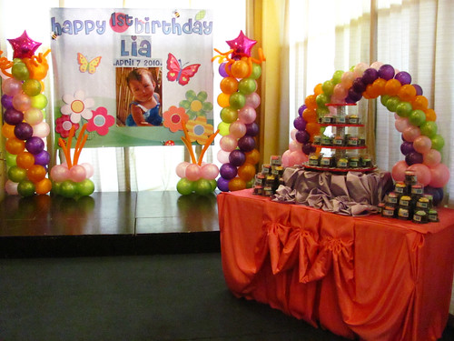 The stage and cake/cupcake table