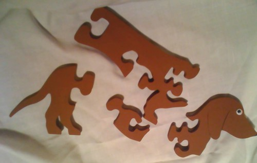 Assembled - Dachshund Puzzle wood brown 1/4