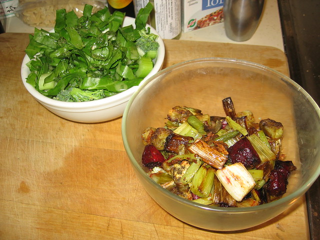 Garlicky roasted beets, leeks and eggplant