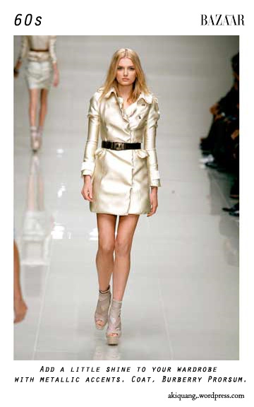 Add a little shine to your wardrobe with metallic accents. Coat, Burberry Prorsum.