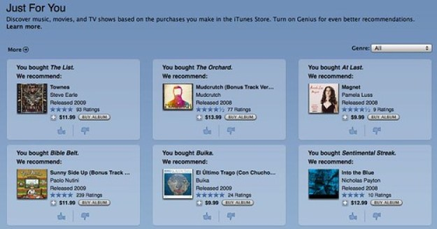 iTunes store recommendations