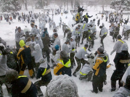 Two Regiments of Midshipmen Participate in the Brigade Snowball Fight