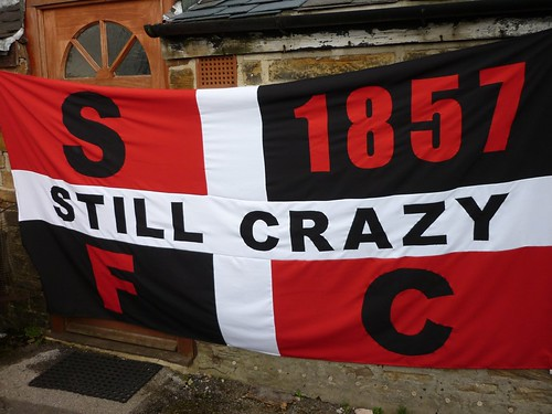 Sheffield FC flag at the Coach and Horses ground