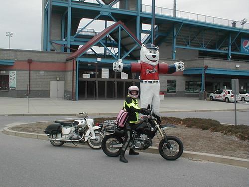 Me, Elsa DR-Z400 SM and Honda Dream 305 at PawSox Stadium