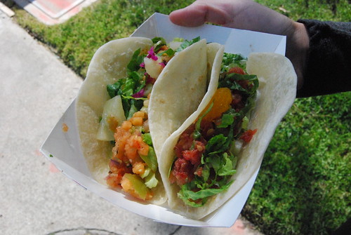 Pork and fish taco