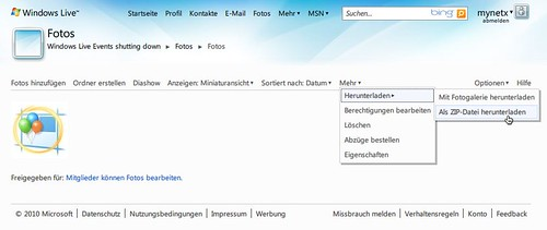 Windows Live Events: Fotos herunterladen