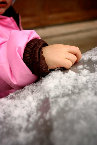 first time touching snow.