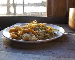 Pesto pasta and fried fish