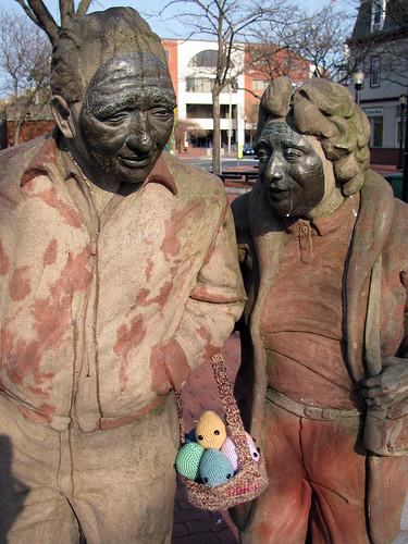Easter Yarnbomb in Davis Square