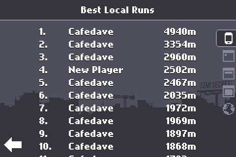 Canabalt local high scores