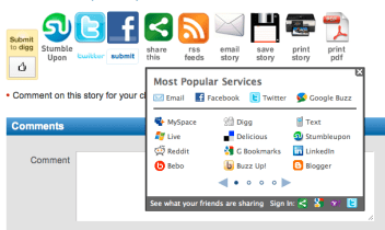 Screenshot of buttons taken at Pocket Link