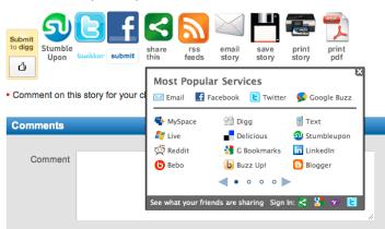 Screenshot of buttons taken at Pocket Link